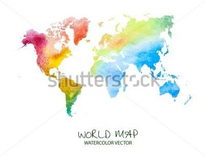 Наклейка нарисованная рукой карта мира акварели изолированная на белизне. Векторная версия