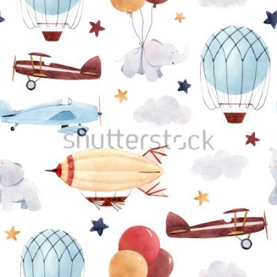 Наклейка Симпатичные дети акварельный рисунок. Обои для мальчика, звездное небо с аэростатом, дирижабль и самолеты, слоны и воздушные шарики.