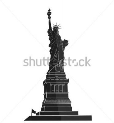 Наклейка Статуя Свободы. Нью-Йорк ориентир. Американский символ плоский силуэт
