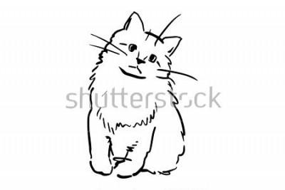 Наклейка Сидящий котенок. Черно-белый векторный рисунок. Простой рисунок на белом фоне.