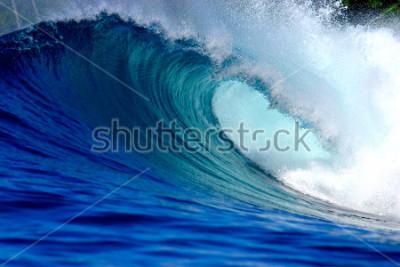 Наклейка Blue surfing wave