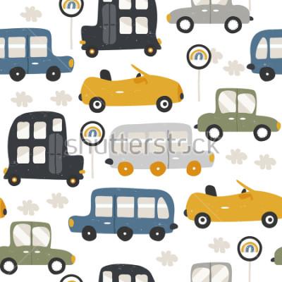 Наклейка Seamless pattern with funny cars. Fashion kids print. Vector hand drawn illustration.