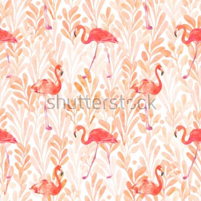 Наклейка Seamless watercolor pattern with a bird flamingo. Beautiful pink bird. Tropical flamingo.