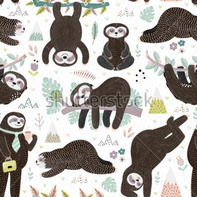 Наклейка Cute sleeping sloths seamless pattern. Adorable animal background. Vector illustration
