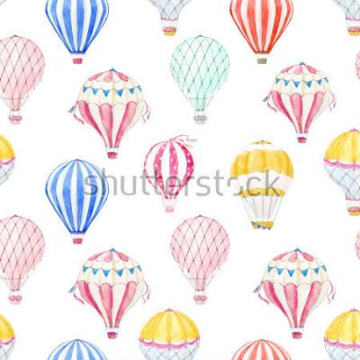 Наклейка Cute balloon watercolor pattern.  aerostat