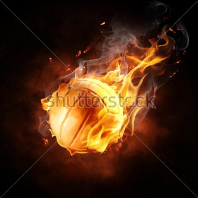 Наклейка bright flamy symbol on the black background
