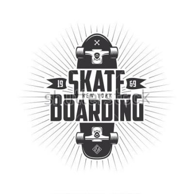 Наклейка Skateboarding t-shirt design. Urban skating. Skateboard typography. Vector vintage illustration.