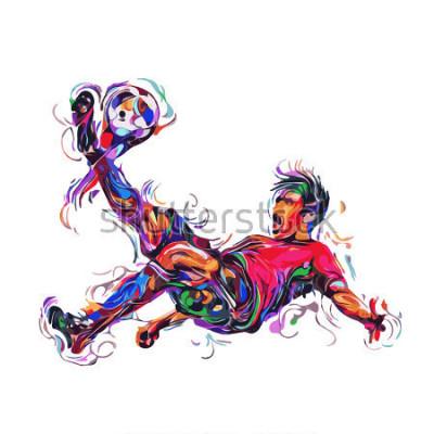Наклейка soccer player colorful kicks / art