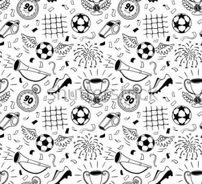 Наклейка Soccer vector background. Vector illustration of seamless football wallpaper pattern for your design