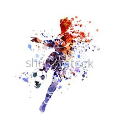 Наклейка Vector watercolor silhouette soccer player