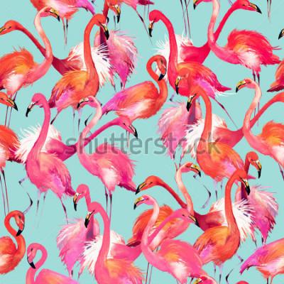 Наклейка flamingo birds seamless background. Watercolor tropical nature pattern.