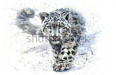 Наклейка Snow leopard animals watercolor predator wildlife