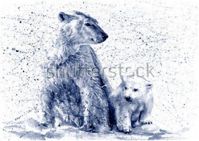 Наклейка Polar bear black&white