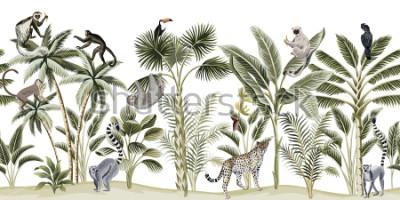 Наклейка Tropical vintage botanical landscape, palm tree, banana tree, plant, sloth, monkey, leopard, lemur, parrot, toucan floral seamless pattern white background. Exotic green jungle animal wallpaper.