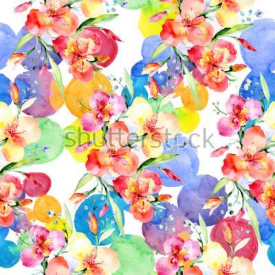 Наклейка Orange violas bouquet botanical flowers. Wild spring leaf wildflower. Watercolor illustration set. Watercolour drawing fashion aquarelle. Seamless background pattern. Fabric wallpaper print texture.