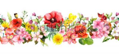 Наклейка Meadow flowers, wild grasses, leaves. Repeating summer horizontal border. Floral watercolor