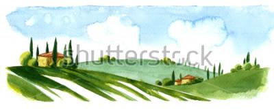 Наклейка Watercolor illustration of small village in Europe. Alpine landscape