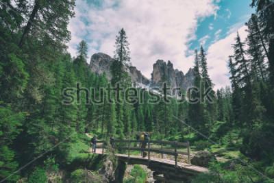 Наклейка wooden bridge and saent waterfall on italian alps, Ambrizola mountains in Dolomites