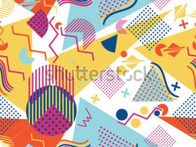 Наклейка Memphis seamless pattern. Geometric elements memphis in the style of 80's. Vector illustration.