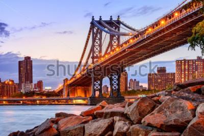 Наклейка New York City, USA at the Manhattan Bridge spanning the East River.