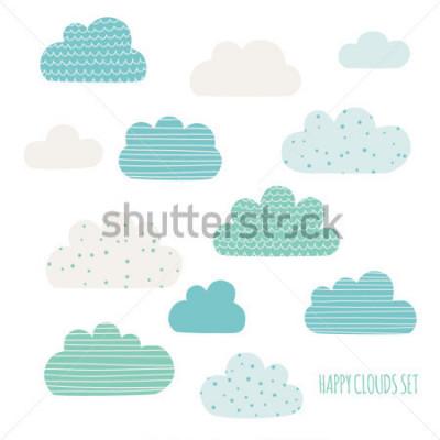 Наклейка Set of cute clouds. Design for kids. Vector illustration