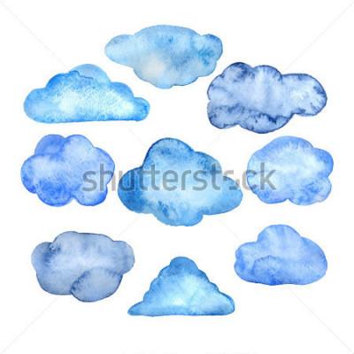 Наклейка Watercolor clouds set