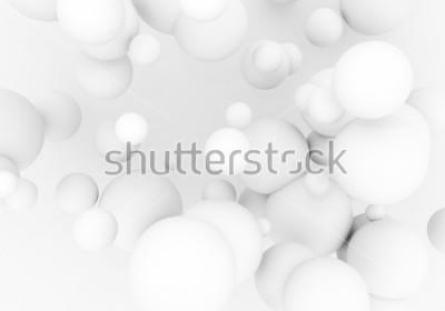 Наклейка Белый жемчуг летит в космосе. Матовые шарики сферы 3d падают - представьте иллюстрацию. Абстрактный модный стильный фон обоев