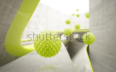Наклейка Иллюстрация зеленой картины хрустального шара 3D на декоративных обоях предпосылки 3D. Графическое современное искусство