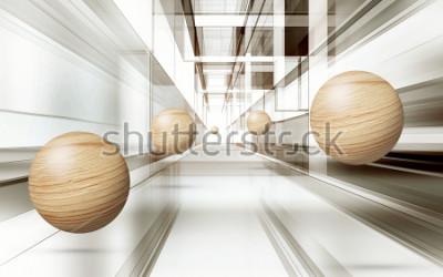 Наклейка Иллюстрация 3D коричневой сфере картины на фоне декоративных 3D обои. Графическое современное искусство