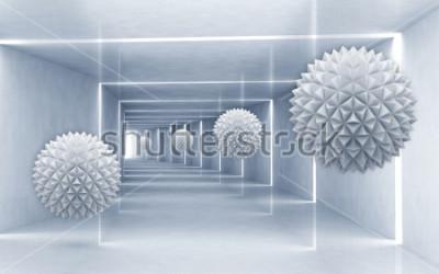 Наклейка Иллюстрация картины хрустального шара 3D на декоративных серебряных обоях предпосылки 3D. Графическое современное искусство