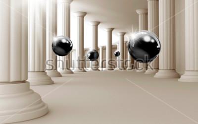 Наклейка Иллюстрация 3D черный узор на декоративный фон 3D обои. Графическое современное искусство