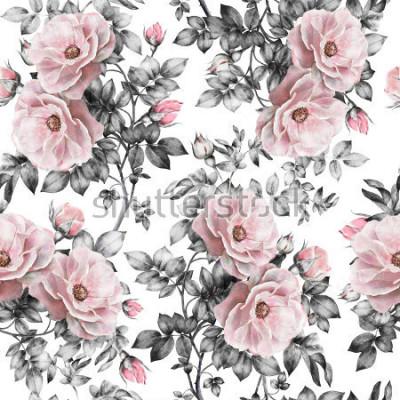 Наклейка Бесшовный фон с розовыми цветами и листьями на белом фоне, акварельный цветочный узор, цветок розы в пастельных тонах, бесшовный цветочный узор для обоев, открытки или ткани