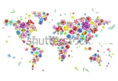 Наклейка Акварельные иллюстрации карты мира в цветах