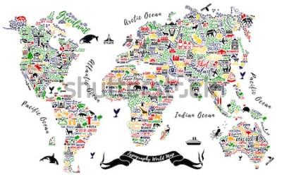 Наклейка Типография Карта мира. Туристический плакат с городами и достопримечательностями. Вдохновляющие векторные иллюстрации.