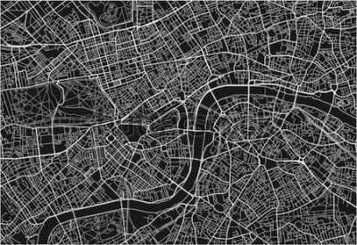 Наклейка Черно-белая векторная карта города Лондона с хорошо организованными разделенными слоями.