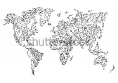 Наклейка карта мира животных дикая живая природа цветок цветочный рисунок дизайн векторные иллюстрации рисованной