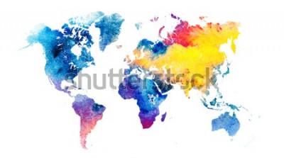 Наклейка Красочная акварель карта мира.