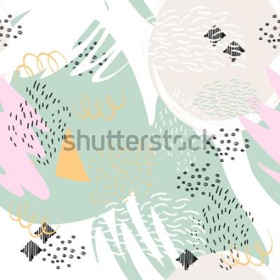 Наклейка Абстрактный геометрический фон с помощью мазков кистью в стиле Мемфиса. Вектор бесшовный образец рукой оттянутые элементы. Легкие пастельные тона.