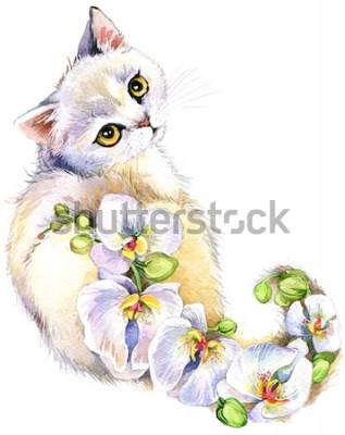 Наклейка Кошка. Цветочная акварельная иллюстрация.