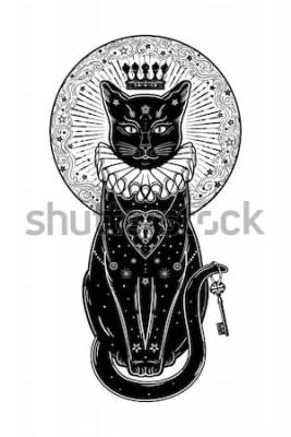 Наклейка Черная кошка силуэт портрет с секретным ключом на фоне Луны. Идеальная предпосылка хеллоуина, искусство татуировки, дизайн boho. Идеально подходит для печати, плакатов, футболок, текстиля. Векторная и