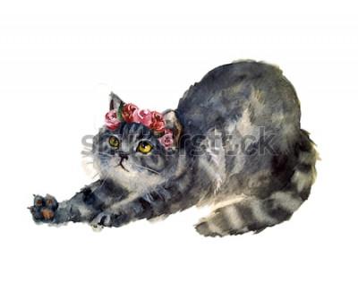 Наклейка Акварельный милый кот с цветами