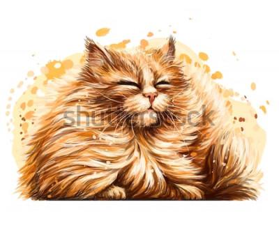 Наклейка Наклейка на стену. Цвет, графика, художественный рисунок милого пушистого кота щурятся на солнце на белом фоне с брызгами акварели.