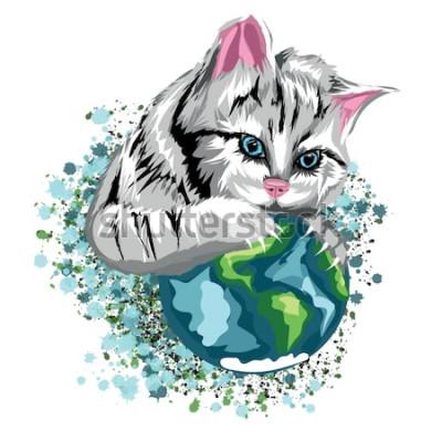 Наклейка Вектор кошка экологический мир с кошачьей планеты и снежных пятен, серый кот с голубыми глазами.