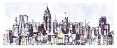 Наклейка Панорама города Нью-Йорка. Акварель, тушь графика. Архитектура