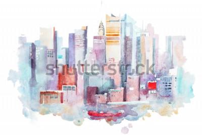 Наклейка акварельный рисунок городского пейзажа Нью-Йорка, США. Манхэттенская акварельная живопись