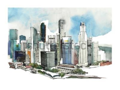 Наклейка Панорамный Сингапур городской акварельный эскиз. Горизонт силуэт города. Рука рисовать с архитектурой. Красочная иллюстрация делового города для открытки, футболки,
