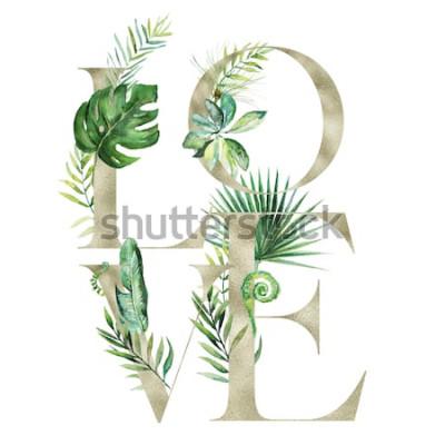 Наклейка Иллюстрация тропической экзотической акварели флористическая - знамя расположения ЛЮБВИ с письмами текстуры золота, для wedding неподвижного, приветствия, обоев, моды, предпосылки. Пальма, папоротник,