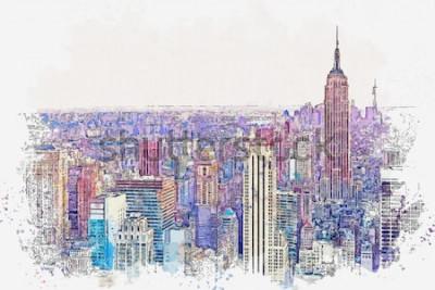 Наклейка Эскиз акварели или иллюстрация красивого вида Нью-Йорка с городскими небоскребами. Городской пейзаж или городской пейзаж.