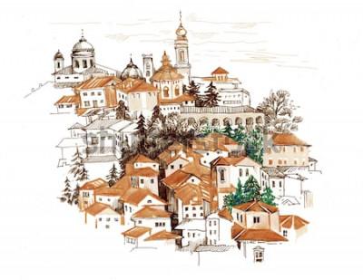 Наклейка Акварельный городской пейзаж с иллюстрацией домов.