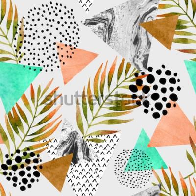 Наклейка Абстрактная летняя бесшовная текстура. Треугольники с пальмовых листьев и мраморных гранж текстур. Абстрактный геометрический фон в стиле ретро ретро 80-х 90-х годов поп-арт. Нарисованная рукой иллюст